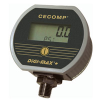 Intrinsically safe pressure gauge with min and max memory.